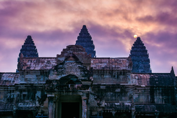 Amazing view of Angkor Wat temple at sunrise. The temple complex Angkor Wat in Cambodia is the largest religious monument in the world. Location: Siem Reap, Cambodia. Artistic picture. Beauty world.