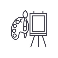 molbert and palette with brush vector line icon, sign, illustration on white background, editable strokes
