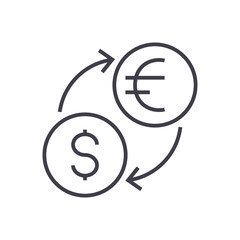 money exchange,dollar, euro vector line icon, sign, illustration on white background, editable strokes