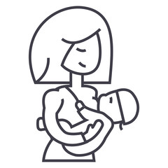 mother breastfeeding baby vector line icon, sign, illustration on white background, editable strokes
