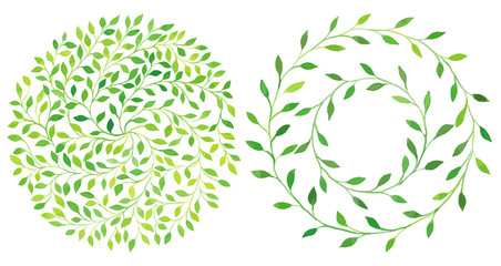 Watercolor circle laurel leaves emblem, wreath of leaves set.