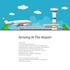 Passenger Plane Arrives at the Airport , Plane Comes in to Land on the Background of the Control Tower, Poster Brochure Flyer Design, Vector Illustration