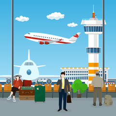 View on a Take-off Airplane and Control Tower through the Window from a Waiting Room at the Airport , Passengers Waiting for Boarding a Plane, Travel Concept, Vector Illustration