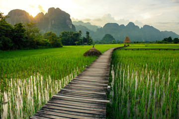 Sunset over green rice fields and mountains in Vang Vieng, Laos Wall mural