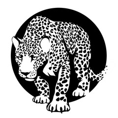 black and white silhouette of a leopard in a black circle