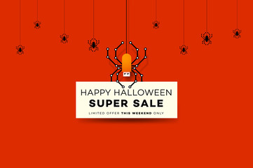 Happy Halloween Sale Background With Digital Spider Like USB Flash Drive. Modern Vector Illustration. Posters, Postcards, Greeting Cards, Banners, Headers Template