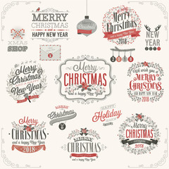 Wall Mural - Christmas set - labels