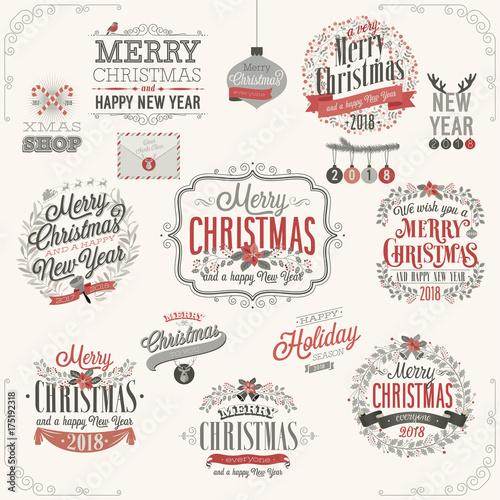 Wall mural Christmas set - labels