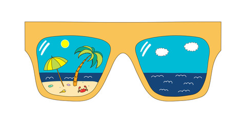 Hand drawn vector illustration of big framed glasses with beach scene reflected inside the lenses.