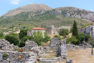 Stari Bar or old Bar in Montenegro, a very old ruined city and fortress founded in 8 BC and complemented over the centuries. Near Bar and the mediterranean coast, Southeast Europe.
