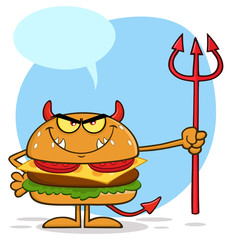 Devil Burger Cartoon Character Holding A Trident. Illustration Isolated On White Background With Speech Bubble