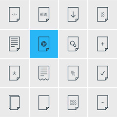 Vector Illustration Of 16 Paper Icons. Editable Pack Of Plus, Style, Percent And Other Elements.