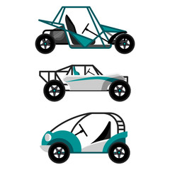 Set of different buggy cars on vector illustration