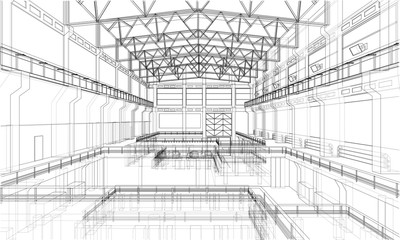 Warehouse sketch. Vector