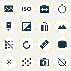Image Icons Set. Collection Of Blur Off, Photography, Mode And Other Elements. Also Includes Symbols Such As Sparkle, Off, Circle.