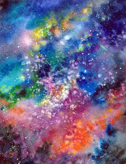Space background. Watercolor art background with space, stars, milky-way. University art background. Multicolor abstract background. Wall art painting for home decor. Interior wall art.