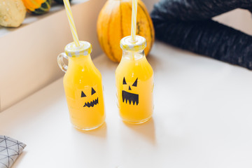 Haloween decorated bottles of beverages