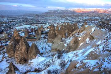Distant view of the mountains in Cappadocia, Turkey.