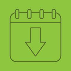 Download calendar linear icon