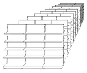 Racks with shelves sketch. Vector