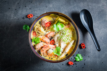 Delicious Malaysian Soup with prawn and coconut milk