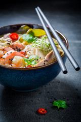 Delicious Malaysian Soup with chicken and shrimps
