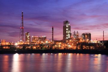 Sunset colorful sky and petrochemical industry