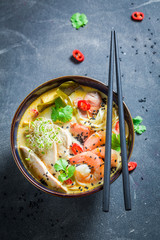 Yummy Malaysian Soup with prawn and coconut milk