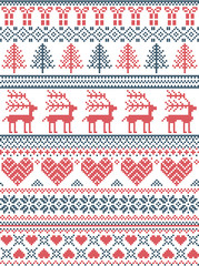 Scandinavian, Nordic style winter stitching Christmas pattern including snowflakes, hearts, Christmas gift, snow, star, Christmas tree, reindeer and decorative seamless ornaments in red, white. blue