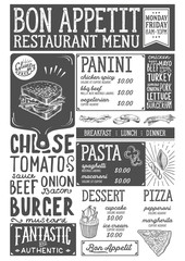 Food menu restaurant template.