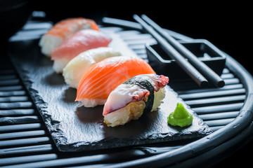 Fresh Nigiri sushi made of salmon and rice