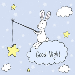 Good night vector card with cute rabbit . vector print