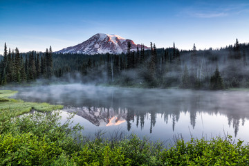 Scenic view of Mount Rainier reflected across the reflection lakes