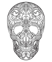 Contour black and white illustration of a sugar skull. The holiday of the Day of the Dead. Vector element for your creativity
