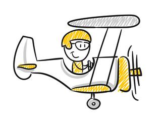 Strichfiguren / Strichmännchen: Flugzeug, Reise, Abenteuer. (Nr. 108)