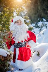 Little Santa walking in a winter forest