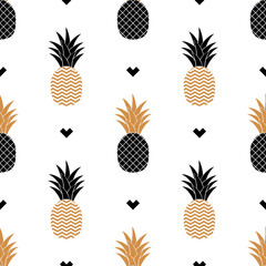 Simple seamless background with a picture of golden pineapple. Vector. Vector illustration.