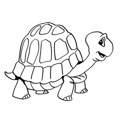 Hand drawn a turtle cartoon-Vector Illustration