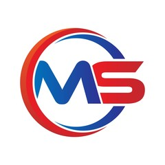 ms logo vector modern initial swoosh circle blue and red