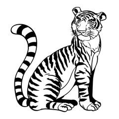 Hand drawn Sitting tiger-Vector Illustration