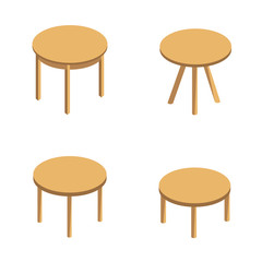 isometric vector set of round tables. round coffee table, small table with three legs,dining round table. Wooden round table isolated on white background