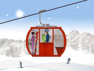 illustration of skiers on ski lift