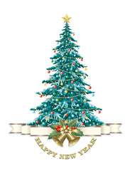 Christmas tree with bells on a white background