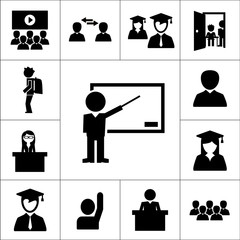 Meeting, presentation, school or university class icon with persons isolated vector