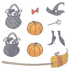 Collection of witch stuff for Halloween, isolated vector cartoon on white background