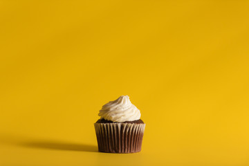 Chocolate cupcake on yellow background.