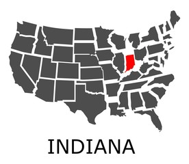 State of Indiana on map of USA