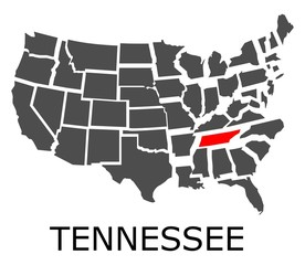 State of Tennessee on map of USA