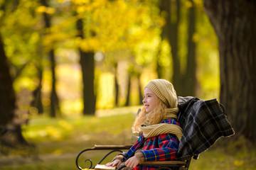 teenager girl in autumn park