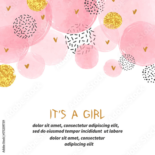 Baby Shower Karte Text.Baby Shower Girl Card Design With Abstract Watercolor Pink